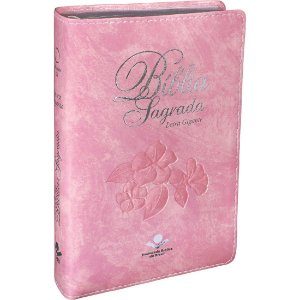BÍBLIA SAGRADA LETRA GIGANTE - ROSA CLARO
