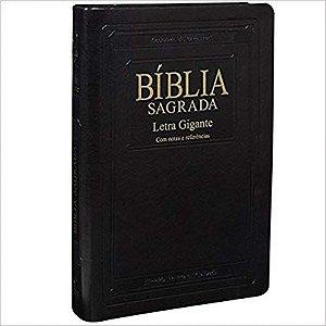 Bíblia Letra Gigante Edição Especial Preta com Dourado com Índice - RA