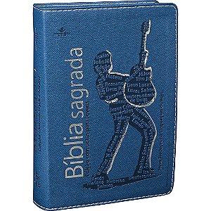 Bíblia com Notas para Jovens - Azul Com Prata - Masculina