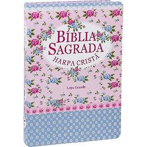 Bíblia Sagrada com Harpa Cristã - Letra Grande - Florida Azul