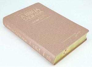 Bíblia ACF - RCM (Referências, Concordância e Mapas) - Ouro Rosa - Letra Gigante