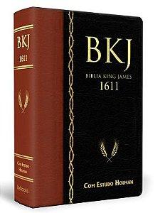 Bíblia King James 1611 com Estudo Holman (Marrom com Preto)
