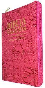BÍBLIA LETRA GIGANTE COM ZÍPER ROSA