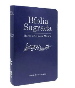 BIBLIA SAGRADA HARPA COM MUSICA CP LUXO AZUL