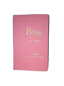 Bíblia Sagrada Letra Gigante |Com harpa Zíper e Índice | Capa Rosa