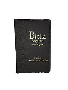 Bíblia Sagrada | Letra GIGANTE |Com Harpa e Zíper | Capa Preta