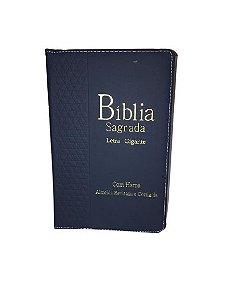 Bíblia Sagrada Letra Gigante |Com harpa , zíper e Índice | Capa Azul