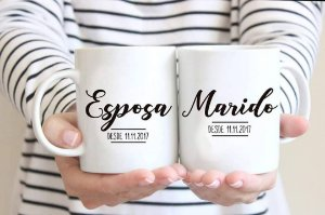 Caneca Personalizada de Porcelana - Estampa Esposa & Marido