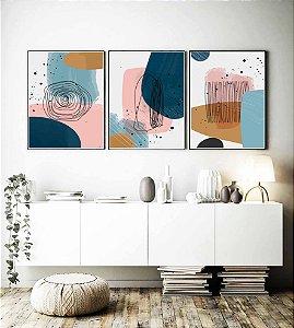 Quadros abstratos geométricos color impressão em canavas com moldura em madeira na cor preta kit com 3 quadros