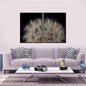 Quadros dente de leão kit com dois quadros impressão em canvas  com moldura em madeira na cor preta