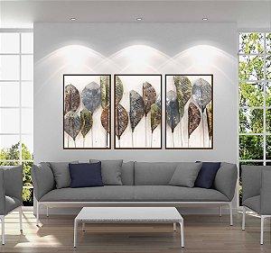 Quadros folhas colors kit com 3 quadros com moldura em madeira no tom cobre