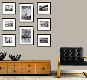 Quadros porta retratos para parede kit 8 quadros com moldura em madeira na cor  preta
