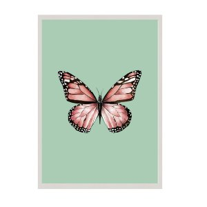 Quadro borboleta fundo verde água