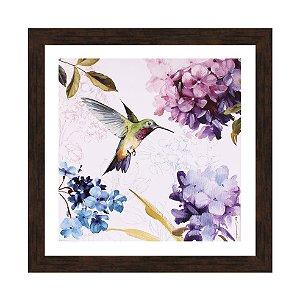Quadro flores com beija-flor 2