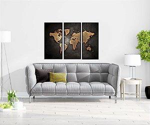 Quadro Decorativos Mapa Mundi 3 Peças Com Moldura e Vidro