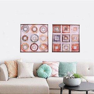 Quadros abstratos forma geométricas medida  0,63 x 0,63 cm