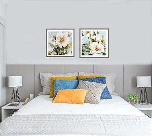 Quadros flores brancas medida 60 cm x 60 cm