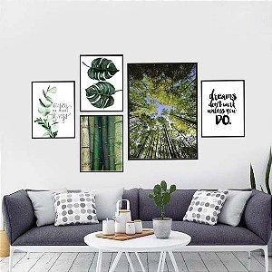 Quadros composição green 5 peças