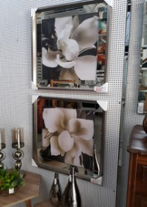 Flores sépia margem de espelho moldura em madeira chanfrada
