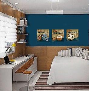 Quadros Futebol composição 3 peças com moldura de madeira preta 33 x 33 cm