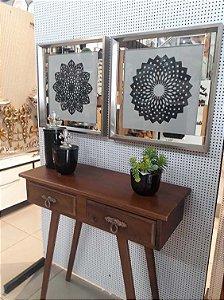 Quadros mandalas composição 2 peças com moldura prata inox