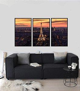 Quadros Paris Fragmentado em 3 partes moldura preta