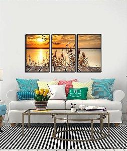 Quadros decorativo paisagem por do sol 3 peças com moldura e vidro