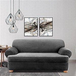 Quadros abstrato fluído tons neutros com moldura preta e vidro