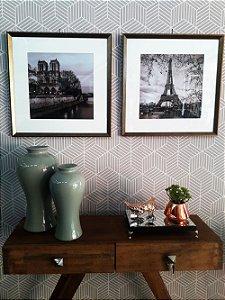 Quadros Paris composição duas peças moldura bronze