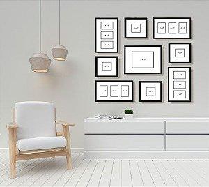 Quadros de fotos porta retratos kit com 9 peças em madeira na cor preta ou natural