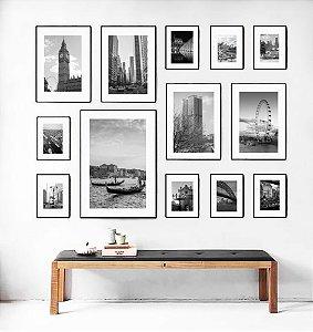 Quadros porta retratos kit com 13 peças com vidro e moldura em madeira na cor preta ou natural