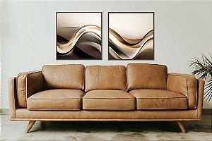 Quadros abstratos ondas 2 peças com moldura em alumínio na cor bronze