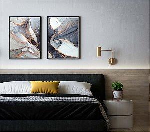 Quadros abstratos, geométricos kit com 2 peças moldura em madeira na cor preta e vidro 50 x 70 cm