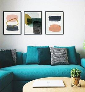 Quadros Abstratos Elementar kit com 3 peças vidro e moldura na cor preta  40x60 Cm