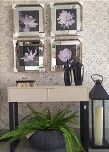 Quadros flores preto e branco com margem de espelho moldura inox chanfrada 45 x 45 cm Kit com 4 quadros