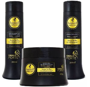 Kit Haskell Cavalo Forte Shampoo 300ml Condicionador 300ml Mascara 250g