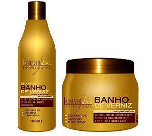 Shampoo Banho De Verniz 500ml Máscara Hidratação Banho De Verniz 250g
