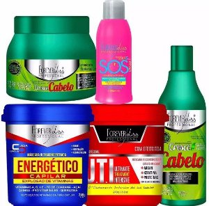 Forever Liss Kit Cresce Cabelo 250g Shampoo Uti Energetico Sos