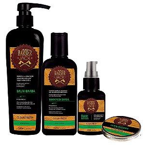 Shampoo Balm Shaving Gel Oleo e Cera p/ Bigode Clean Fresh Barber Jack