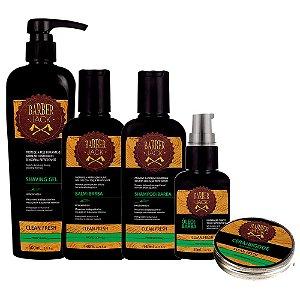 Shampoo Balm Shaving Gel Oleo e Cera p Bigode Clean Fresh Barber Jack