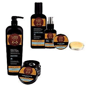 Shampoo Cabelo e Pomada Capilar + Shampoo Oleo e Cera Vigour Barber Jack