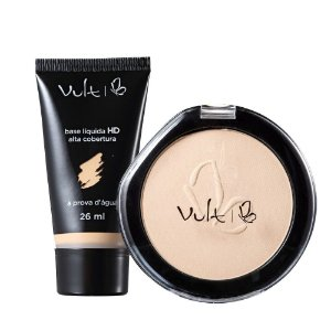 Vult Make Up Base HD Alta Cobertura B-20 e Pó Compacto Basic 01
