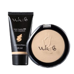 Vult Make Up Base HD Alta Cobertura B-25 e Pó Compacto Basic 02