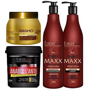 Kit Progr. Ingel maxx Mascara Anabolizante Capilar e Banho Verniz Brilho Maximo