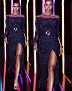 Vestido Longo Lurex Glam com Fivela