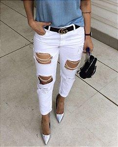 Calça Skinny Destroyed com Pérolas