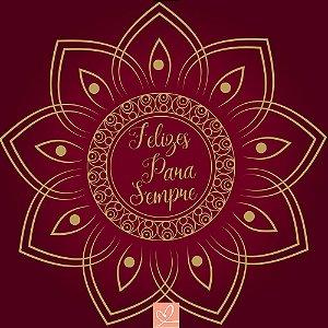 Pista de Dança Casamento Mandala Felizes Para Sempre Vinho - Sem Personalização