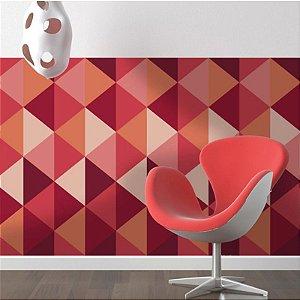 Papel de Parede Adesivo Triângulos Geométricos Vermelhos
