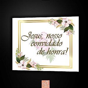 Placa de Casamento Floral Gold Avulsas em PVC 2mm 25cm x 30cm