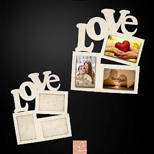 Porta-Retrato Love Para 3 Fotos em MDF CRU